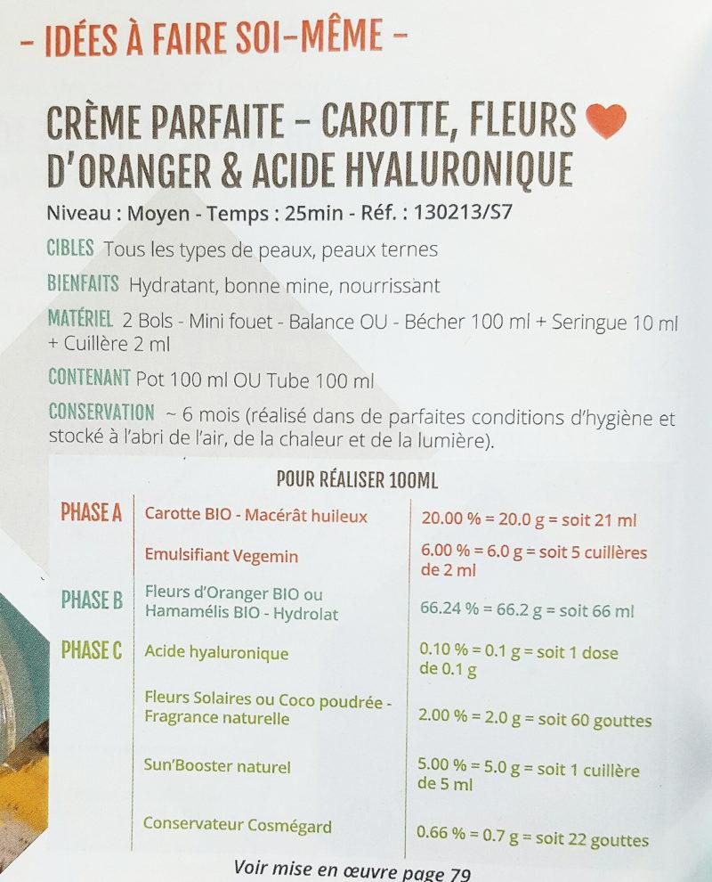 recette creme sublime corps et visage activateur de bronzage mélanine, huile de carotte, hydrolat fleur d'oranger, sun booster