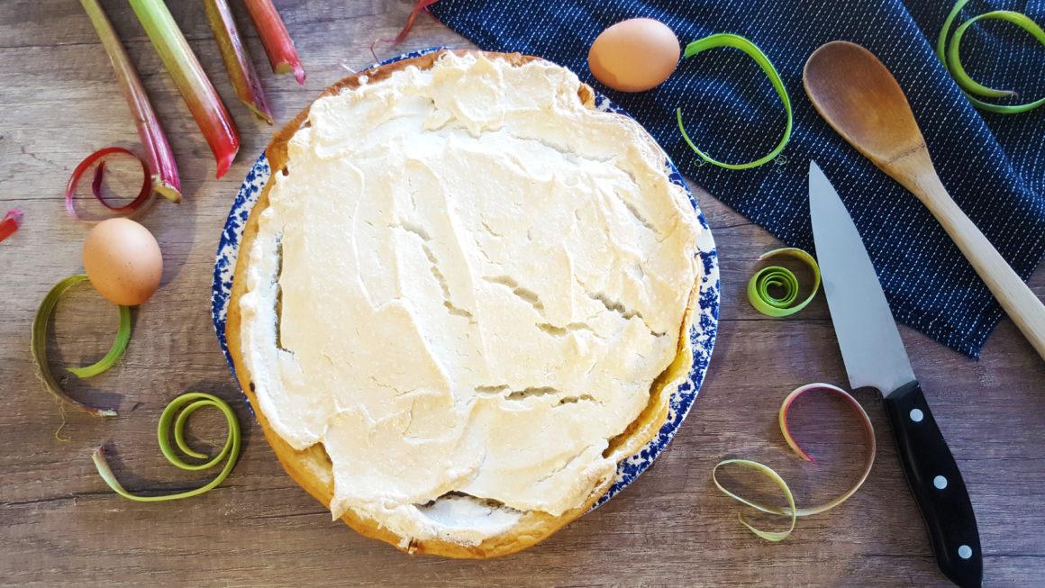 tarte à la rhubarbe meringuée sans lactose sans lait